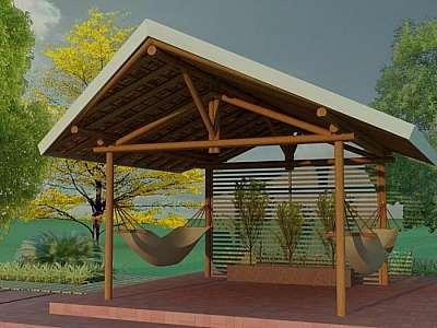 Quiosque de madeira para lanchonete